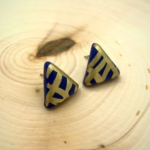 Blue & Gold Handmade Polymer Clay Post Earrings